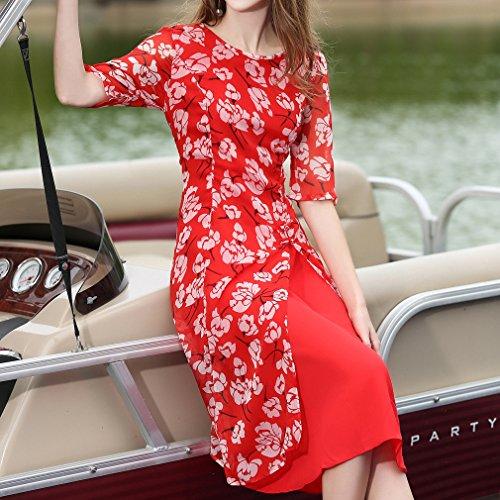 Honghu Damen Sommer Retro Blumen-Drucken Kurzarm Casual Kleid Rot pdwLiu