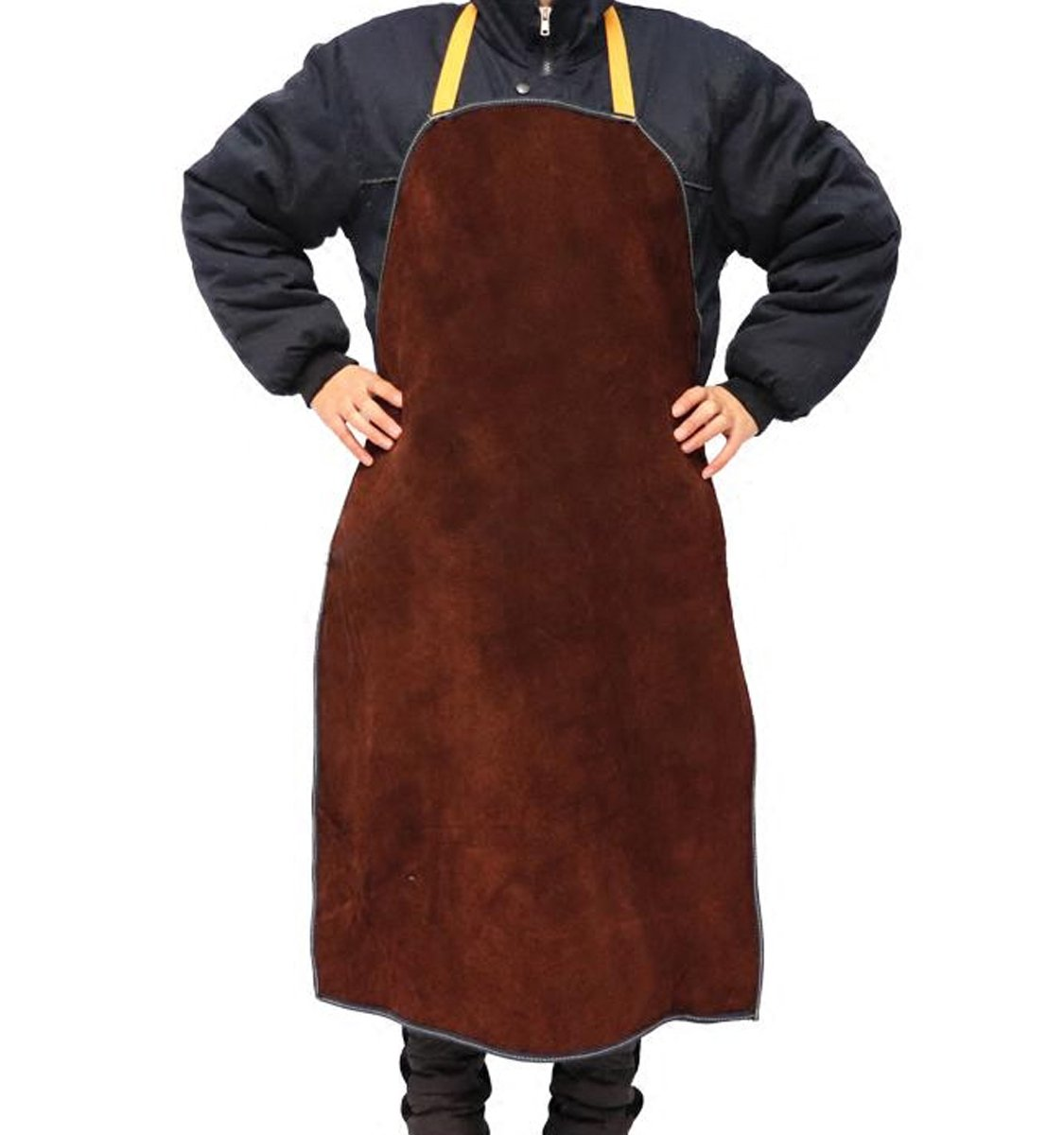 Elastic Waist Heat Resistant Leather Welding Apron Flame Resistant Heavy Duty Work Apron, Brown