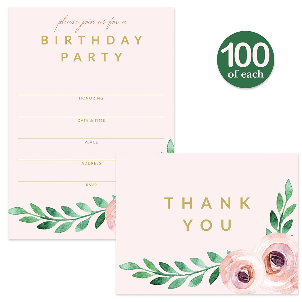 Birthday Party Invitations ( 100 ) & Matched Thank You Notes ( 100 ) Set with Envelopes, Great for Large Celebration Female Girl Young Woman Birthday Fill-in Invites & Blank Thank You Cards Best Value by Digibuddha (Image #1)