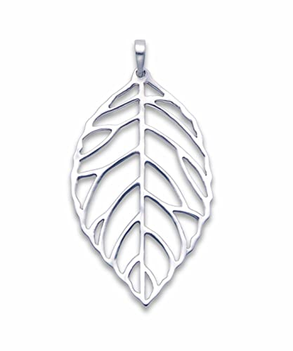 Sterling silver leaf skeleton pendant necklace size 25mm x 15mm sterling silver leaf skeleton pendant necklace size 25mm x 15mm 8056 gift boxed mozeypictures