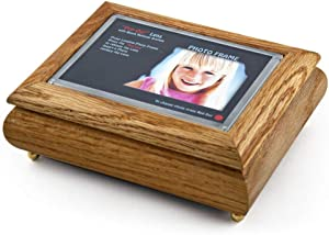 """4"""" X 6"""" Oak Photo Frame Musical Jewelry Box With New""""Pop - Over 400 Song Choices - Out"""" Lens System Que Sera Sera"""