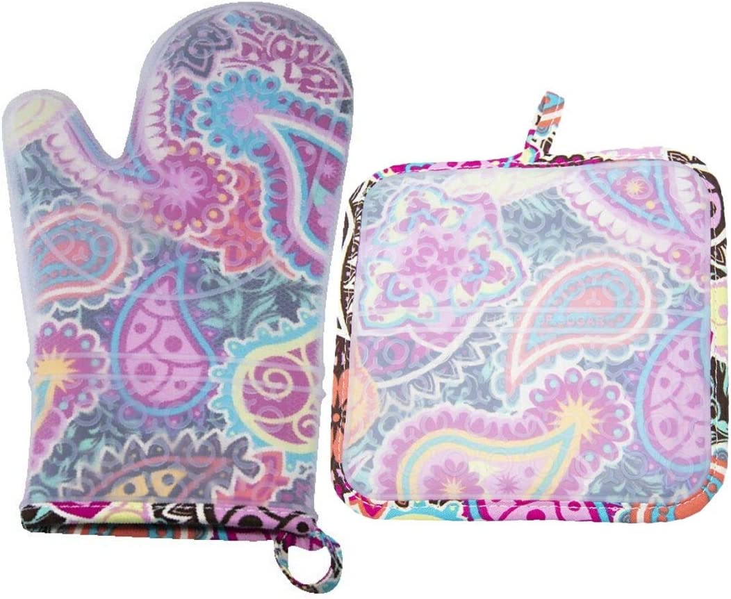 Two Lumps of Sugar Silicone Oven Mitt and Pot Holder Set (Paisley Medallion) – Silli Mitt and Silli Hottie