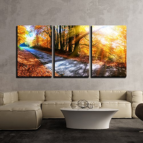 wall26 - 3 Piece Canvas Wall Art - Panoramic Autumn Landscape with Country Road in Orange Tone - Modern Home Decor Stretched and Framed Ready to Hang - 24