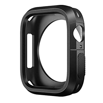 SLEO Funda para Apple Watch de Silicona Anti Gota Anti Rasguña TPU Carcasa Protectora para iWatch 44MM - Negro