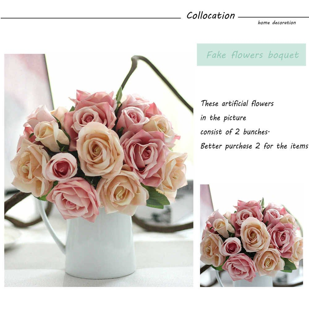 Artificial flowers fake flowers silk plastic artificial roses 9 artificial flowers fake flowers silk plastic artificial roses 9 heads bridal wedding bouquet for home garden party wedding decoration pink champagne izmirmasajfo