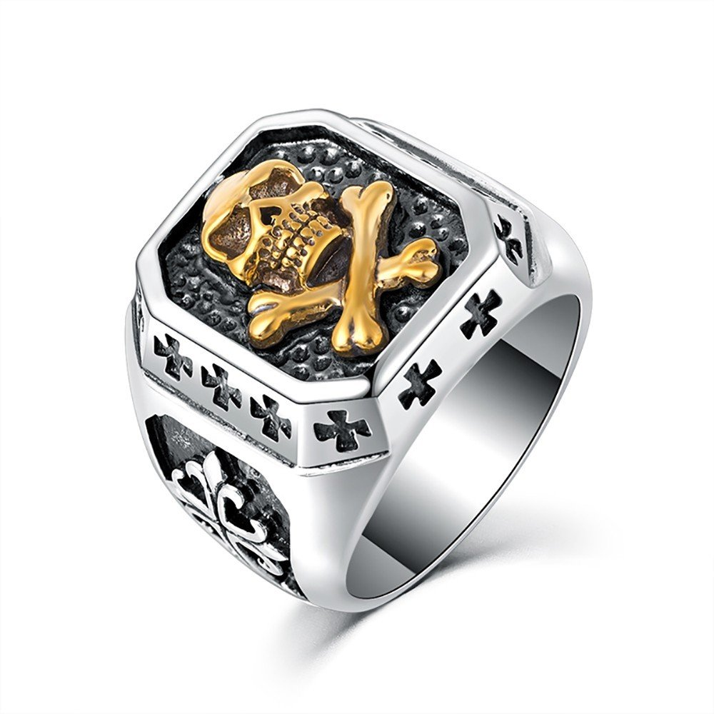 BOBIJOO Jewelry - Bague Chevalière Tête de Mort Argenté Or Croix Templiers Acier Inoxydable Biker