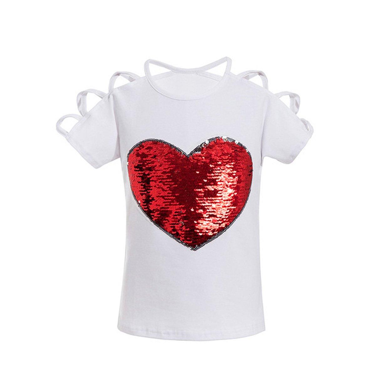 VIPbuy Kid Girls' Short Sleeve T-Shirt Magic Reversible Sequins Letter Print Tee Tops (51.2''-55.1'', White)