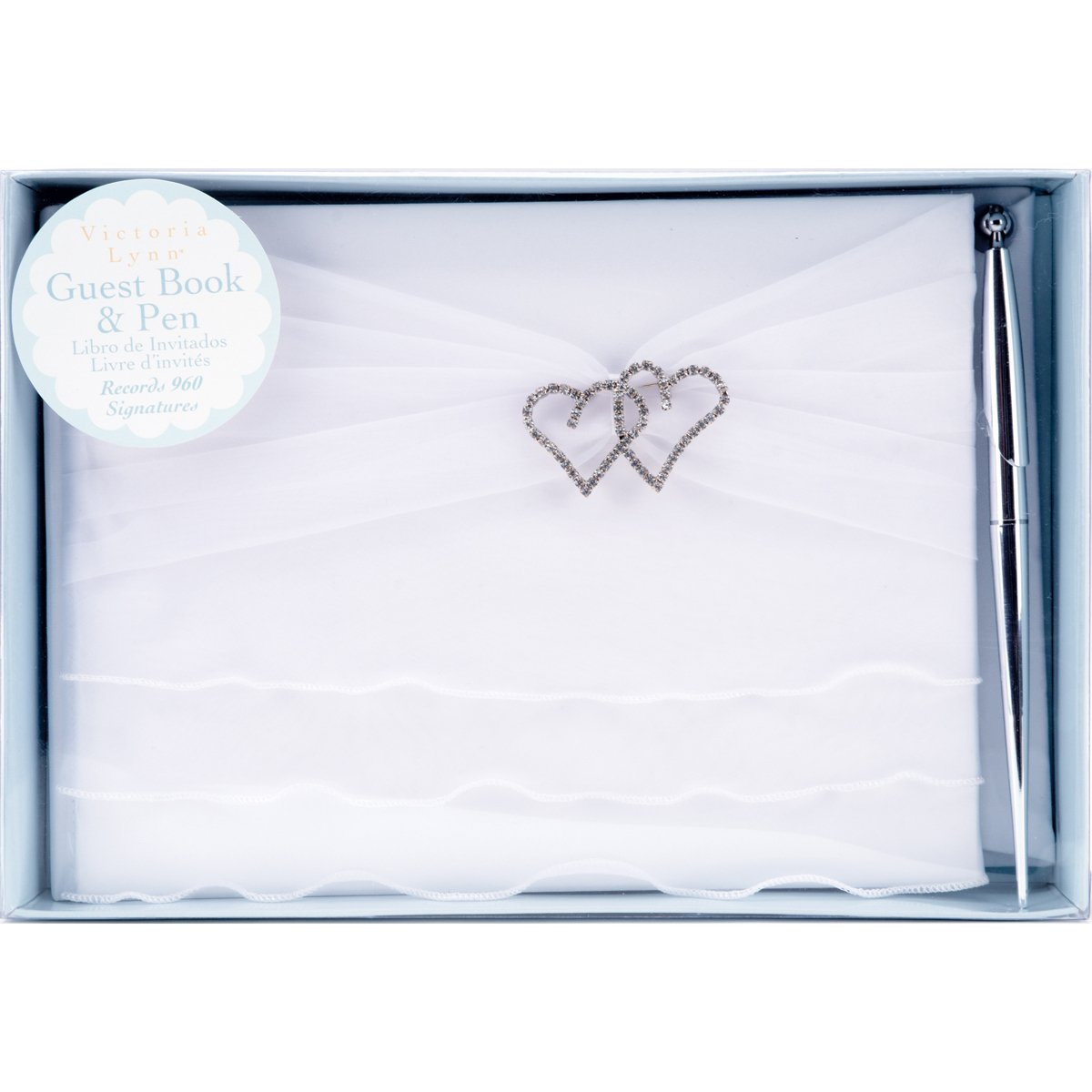 Darice Victoria Lynn Guest Book Set with Pen 6 X 9 Inches White Organza Ruffle (6 Pack)