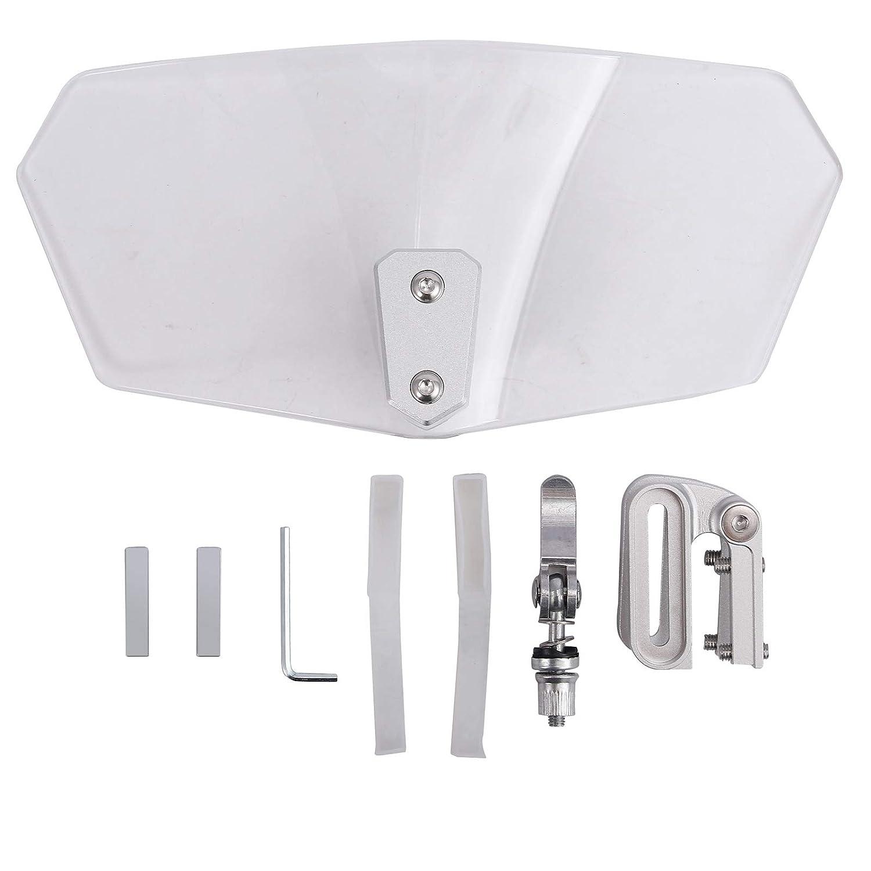 Justech Pare-brise de Moto Clip R/églable sur D/éflecteur de Vent de Spoiler dExtension de Pare-brise pour Moto-Transparent