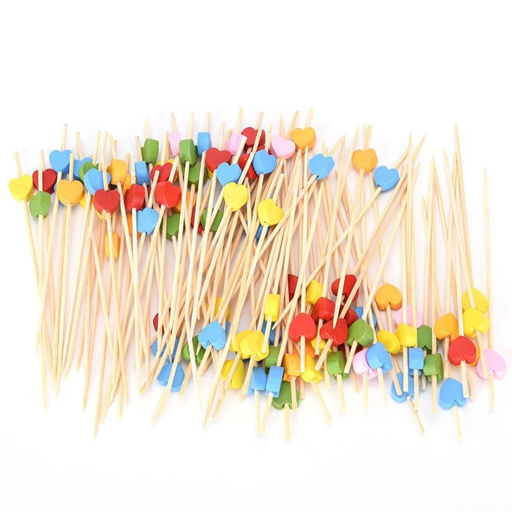 CHIPYHOME Set 100 unds Divertidos y Originales Pinchos brochetas Corazones Colores para barbacoas Aperitivos Canapes Salchichas, quesos, Variantes, Tortilla, Diseñ o en tu Mesa de Fiesta Diseño en tu Mesa de Fiesta