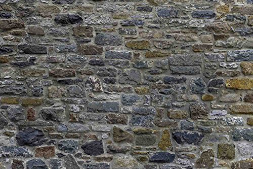 High Res Vinyl - 12-Feet wide by 8-Feet high. Prepasted robust wallpaper mural from a very high res. photo of a: Large Stone Wall.Our murals are easy to install remove and reuse if U do as in our video