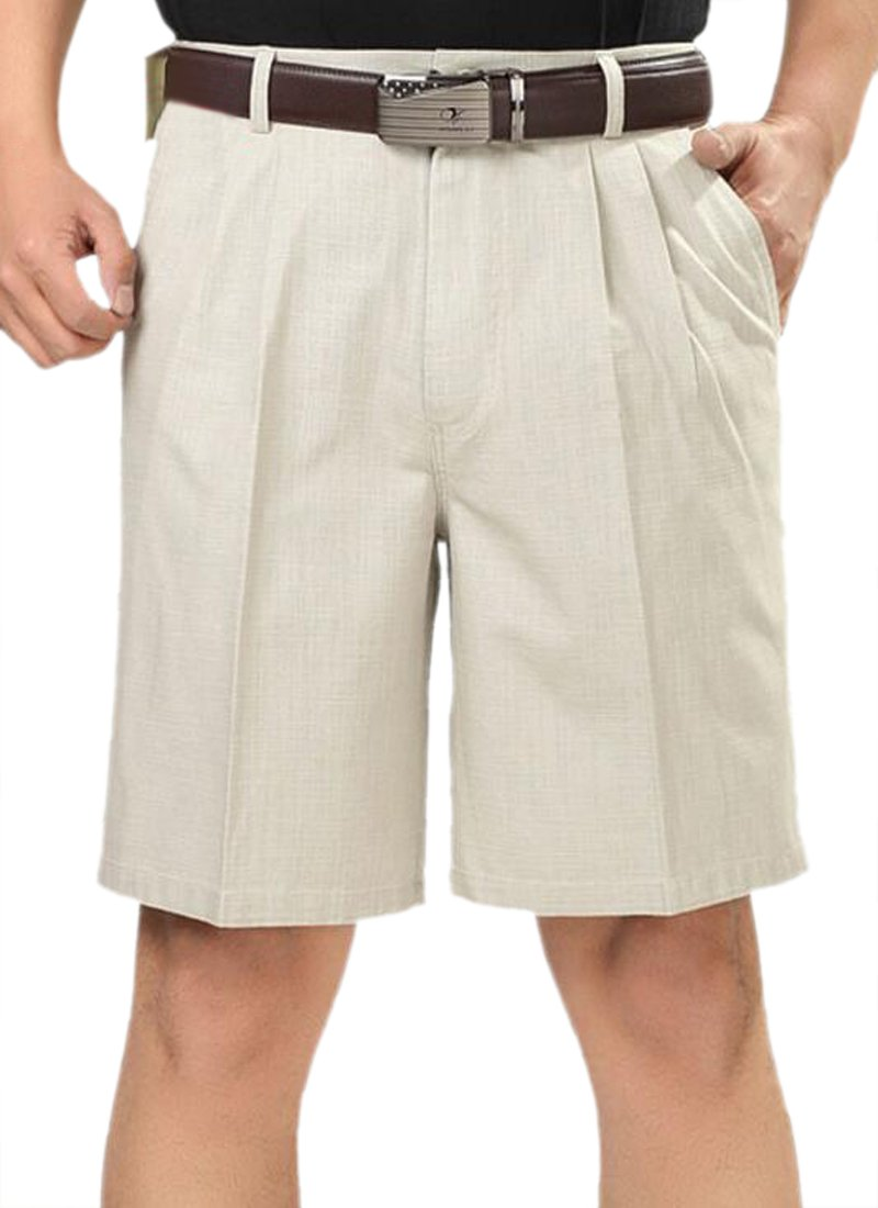 Pandapang Men's High Waist Pleated Classic Fit Baggy Summer Casual Shorts White 34