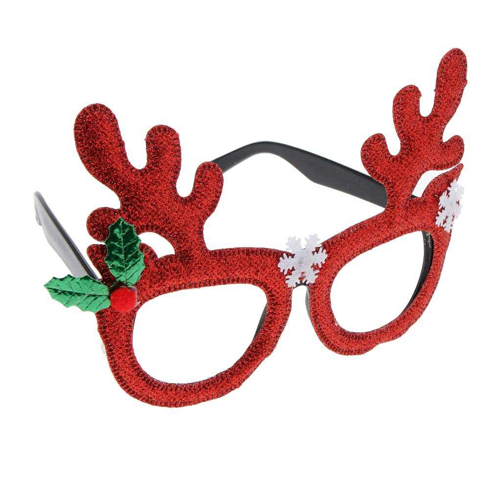Baoblaze Glitter Red Christmas Elk Sunglasses Novelty Antler Glasses Party Eyewear