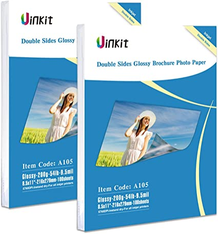 Amazon.com: Doble cara Glossy Photo Paper – 200 hojas uinkit ...
