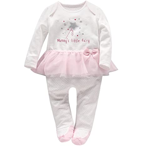 Recién nacido Niñas Peleles Algodón Mameluco Tutú Pijama Bebé Footies Tuta Outfits, 0-3