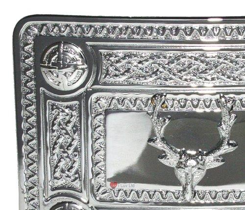 Celtic Knot Kilt Boucle de ceinture avec Stag Mont Chrome