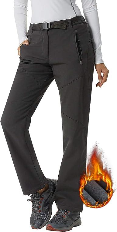 Pantalones Softshell para mujer, impermeables, elásticos para invierno, muy cálidos, de senderismo, esquí, escalada, camping, muletón polar