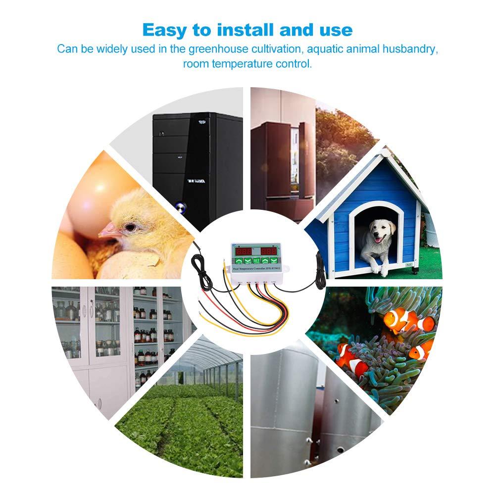 KKmoon Thermostate Microcomputer Intelligenter digitaler Temperaturregler mit Doppelanzeige 12V 120W Elektrischer Thermostat Temperaturregelschalter