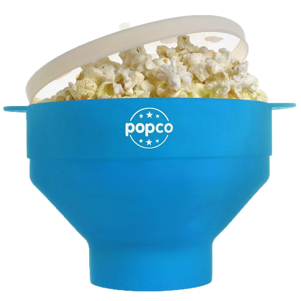 The Original POPCO Silicone Microwave Popcorn Popper with Handles BPA free (Light Blue)