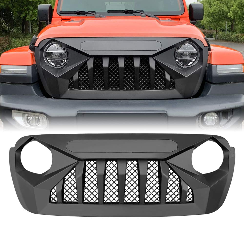 American Modified 2018-2019 JL JLU Vader Grill Jeep Wrangler Grill Grille Accessories /& Unlimited Rubicon Sahara Sports Matte Black