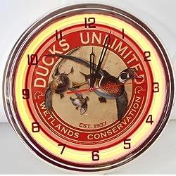 DUCKS UNLIMITED 15 NEON LIGHTED WALL CLOCK METAL SIGN ORANGE