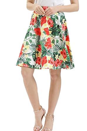 Falda Patinadora con Estampado Floral Línea A Swing Alta Cintura ...