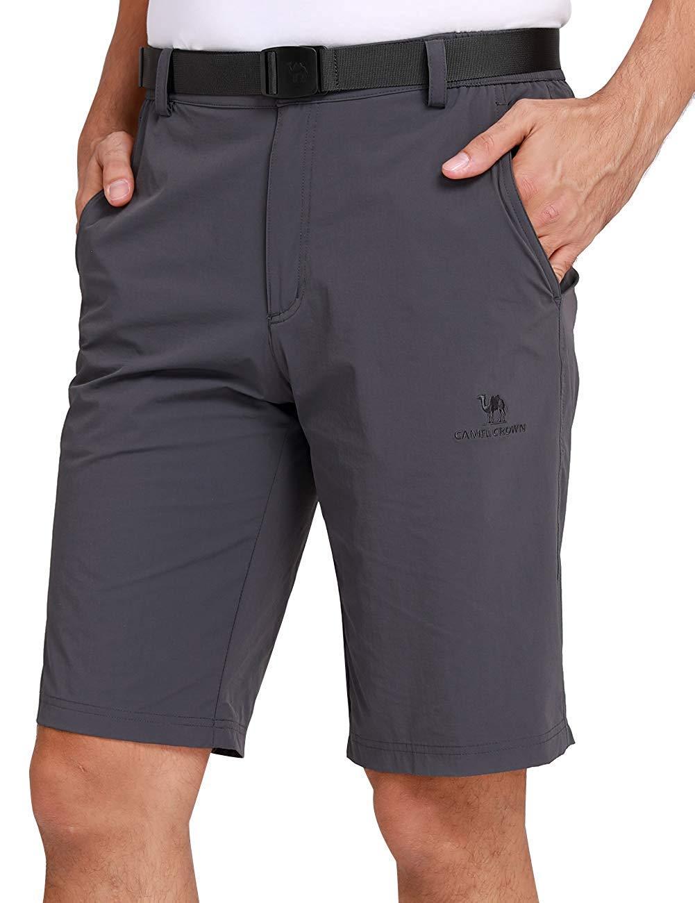CAMEL CROWN Herren Cargo Shorts Schnell Trocknende Kurze Hose Sweatshorts Leicht Bequem Sommer Shorts mit Taschen Halb Elastische Taille Freizeithose f/ür M/änner Outdoor