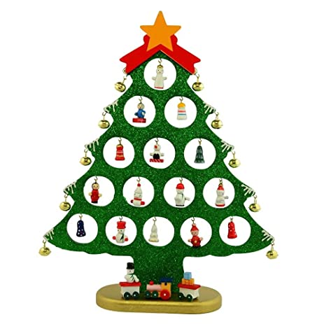 Charming 12u0026quot; 25 Miniature Ornaments Wooden Tabletop Christmas Tree