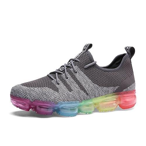 Hombre Mujer Zapatillas de Deportes Gimnasia Shoes Running Respirable Unisex Zapatos Aire Libre Negro Gris: Amazon.es: Zapatos y complementos