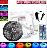 Tagital 16.4ft 5M Waterproof Flexible Strip 300leds Color Changing RGB SMD5050 LED Light Strip Kit RGB 5M +44Key Remote+12V Power Supply