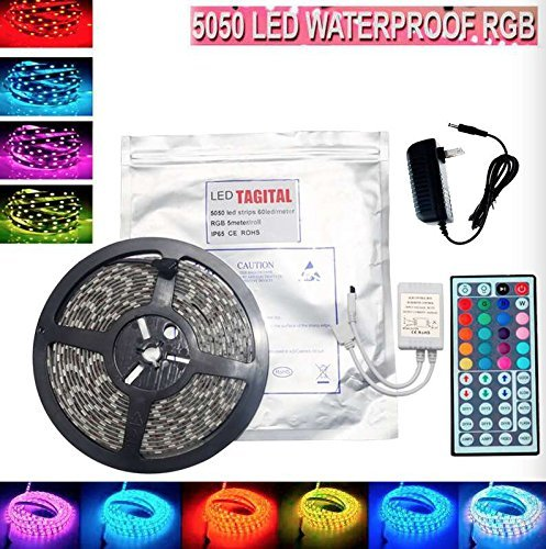 Tagital 16.4ft 5M Waterproof Flexible Strip 300leds Color Changing RGB SMD5050 LED Light Strip Kit RGB 5M +44Key Remote+12V Power Supply by Tagital