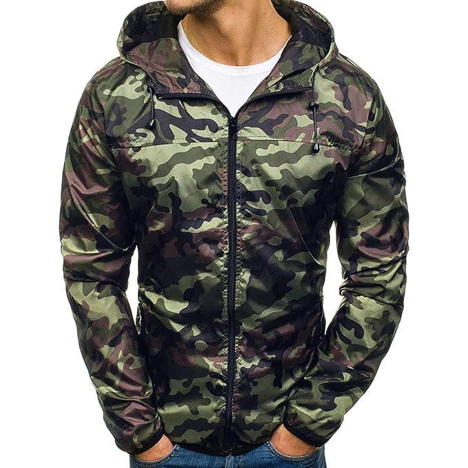 FRAUIT Herren Winterjacke Männer Camouflage Kapuzenpullover