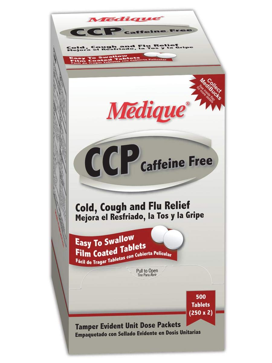 Medique MP10513 CCP Cold and Cough Relief Tablet, Standard, White (Pack of 250) by Medique