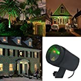 SUNYAO 2 Color Motion Laser Christmas Lights Projector with IR Remote, Outdoor Garden Laser Lights Moving RG Stars Show for Christmas (Red and Green Motion)