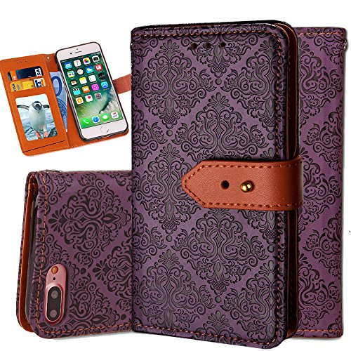 iphone 6S Wallet Case,Auker Flip Folio Vintage Leather Book Style Stand Case Full Body Protection Retro Purse Cover with Card Holders&Hidden Cash Pocket for Women/Men for iphone 6/6s 4.7 Inch (Purple)