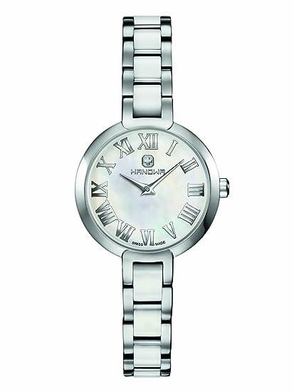 Hanowa Mujer Reloj Suiza de acero inoxidable cerámica acero blanco 16 – 7057.04.001