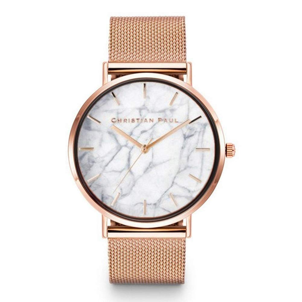 Unisex Marble Print No Numbers Round Dial Quartz Faux Leather Party Wrist Watch