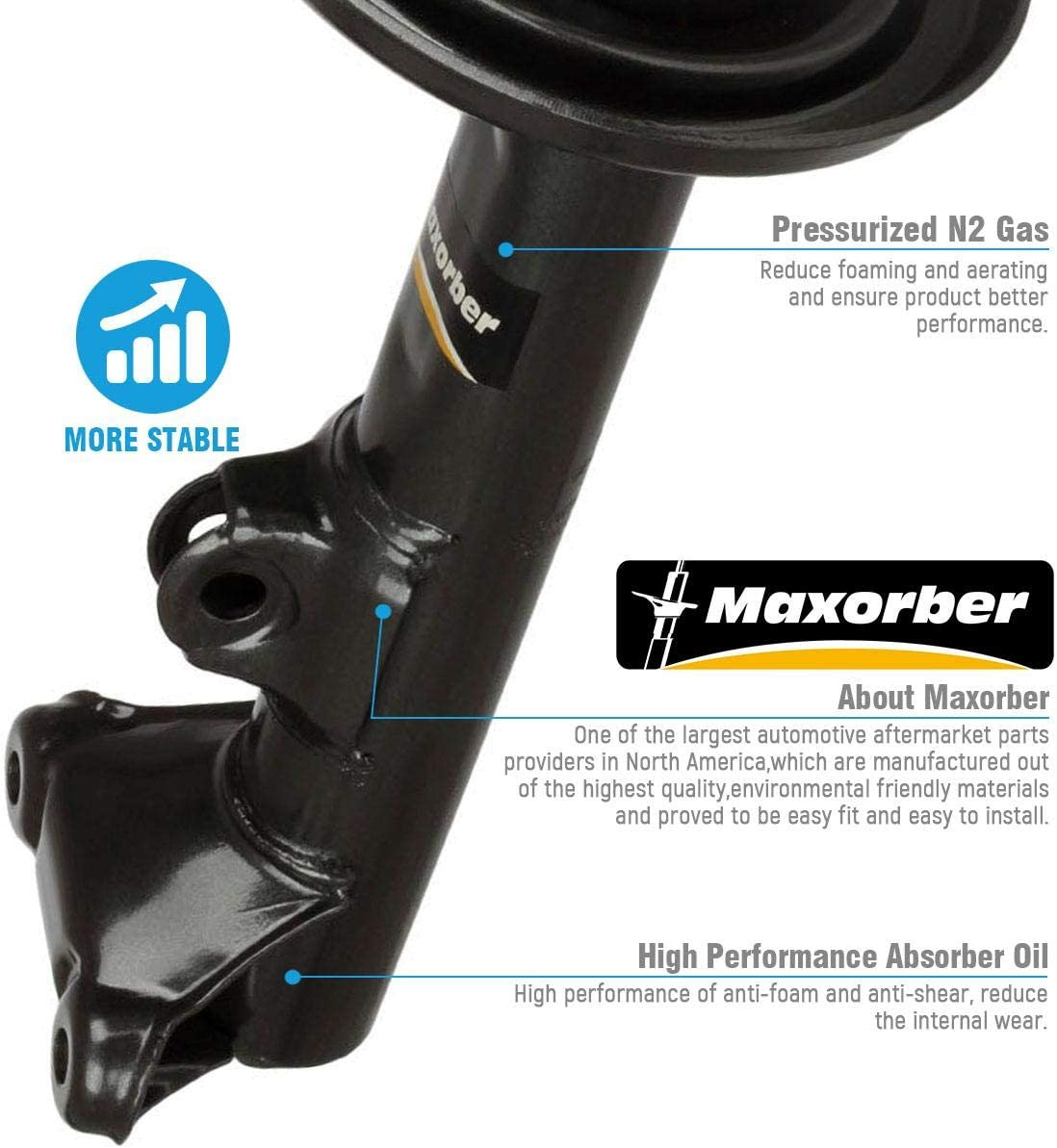 Maxorber Front Pair Shocks Struts Absorber Compatible with Mercedes-Benz C230 C350 C280 C55 AMG C240 C320 01-09 Shocks Absorber 335920 71488