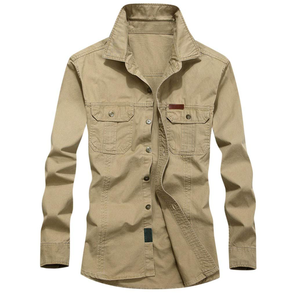 VZEXA Mens Tooling Shirt Plus Size Long Sleeve Lapel Pocket Solid Button Tops Khaki by VZEXA
