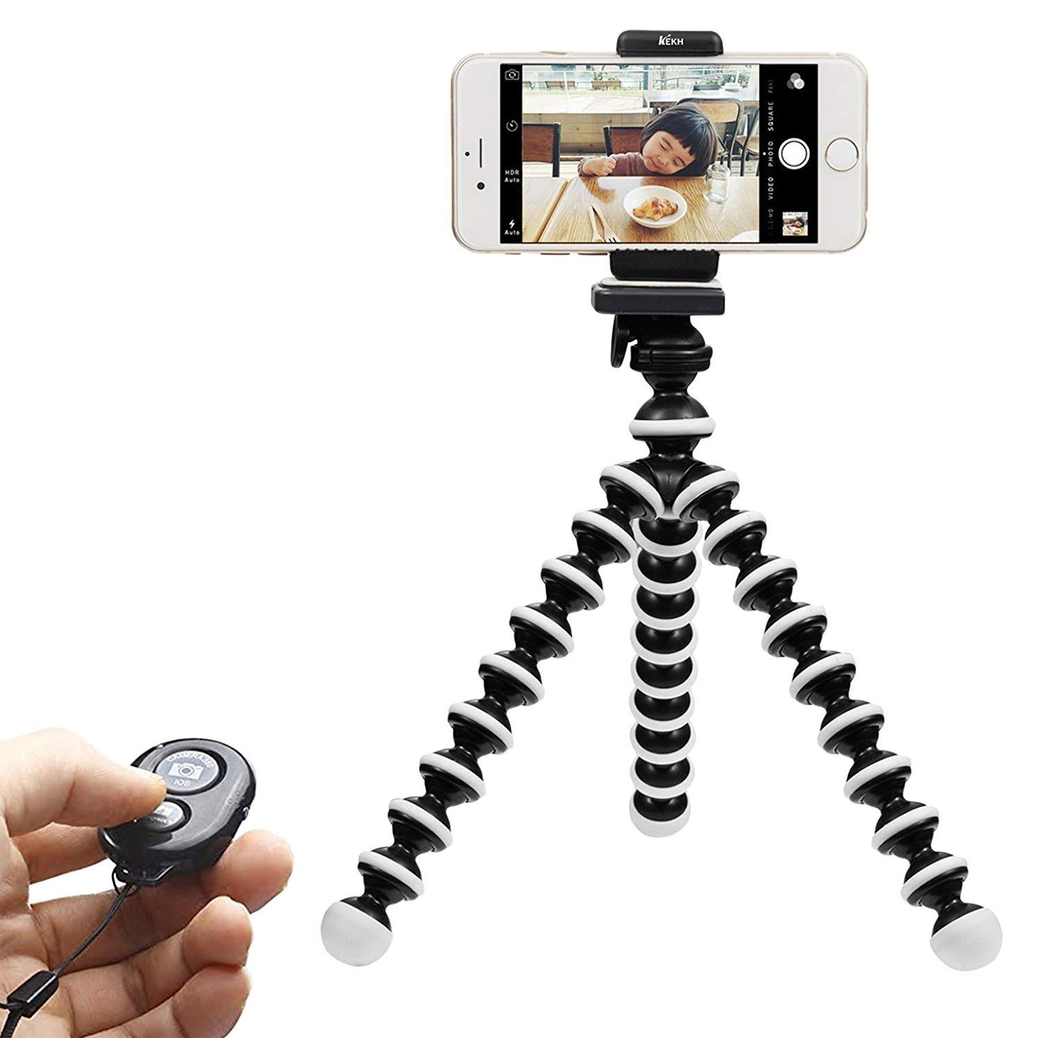 Phone Tripod, WIYFA Portable and Adjustable Tripod Stand Holder with Bluetooth Remote for iPhone, Android Phone,Camera with Universal Clip and Remote (Large Size)