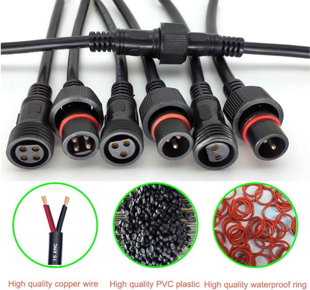 4 broches 5paires 4 c/œurs avec c/âble dextension 16AWG 20CM pour bandes lumineuses LED. . YETOR M/âle Femelle Connecteur LED Plug Connecteurs IP65 /étanches