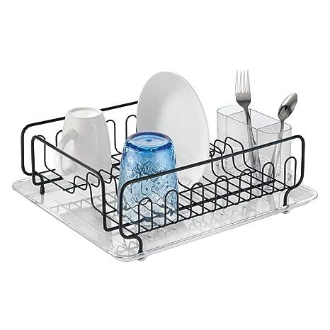 mDesign Escurridor de platos en acero inoxidable - Escurreplatos plástico con cubertero - Elegante escurrecubiertos para vajilla con bandeja ...