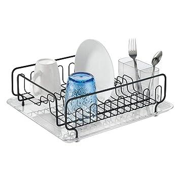 c5866c9651b mDesign égouttoir vaisselle – l idéal bac à vaisselle – étendoir vaisselle  pour verres