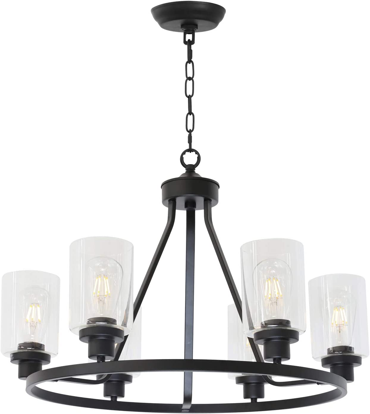 MELUCEE 6-Light Chandeliers for Dining Room, Farmhouse Lighting Black Light Fixtures Ceiling Hanging Industrial Pendant Light for Kitchen Island Bedroom Living Room