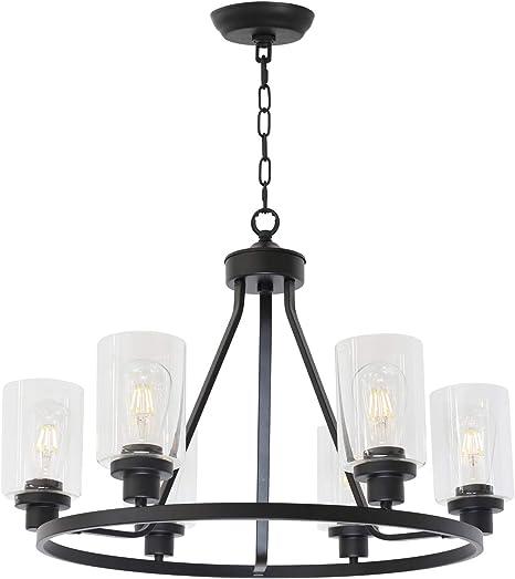 Amazon Com Melucee 6 Light Chandeliers For Dining Room Farmhouse Lighting Black Light Fixtures Ceiling Hanging Industrial Pendant Light For Kitchen Island Bedroom Living Room Home Improvement