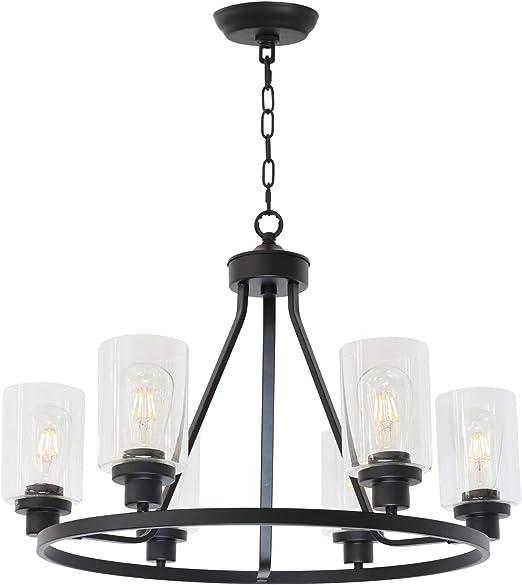 Melucee 6 Light Chandeliers For Dining Room Farmhouse Lighting Black Light Fixtures Ceiling Hanging Industrial Pendant Light For Kitchen Island Bedroom Living Room Amazon Com