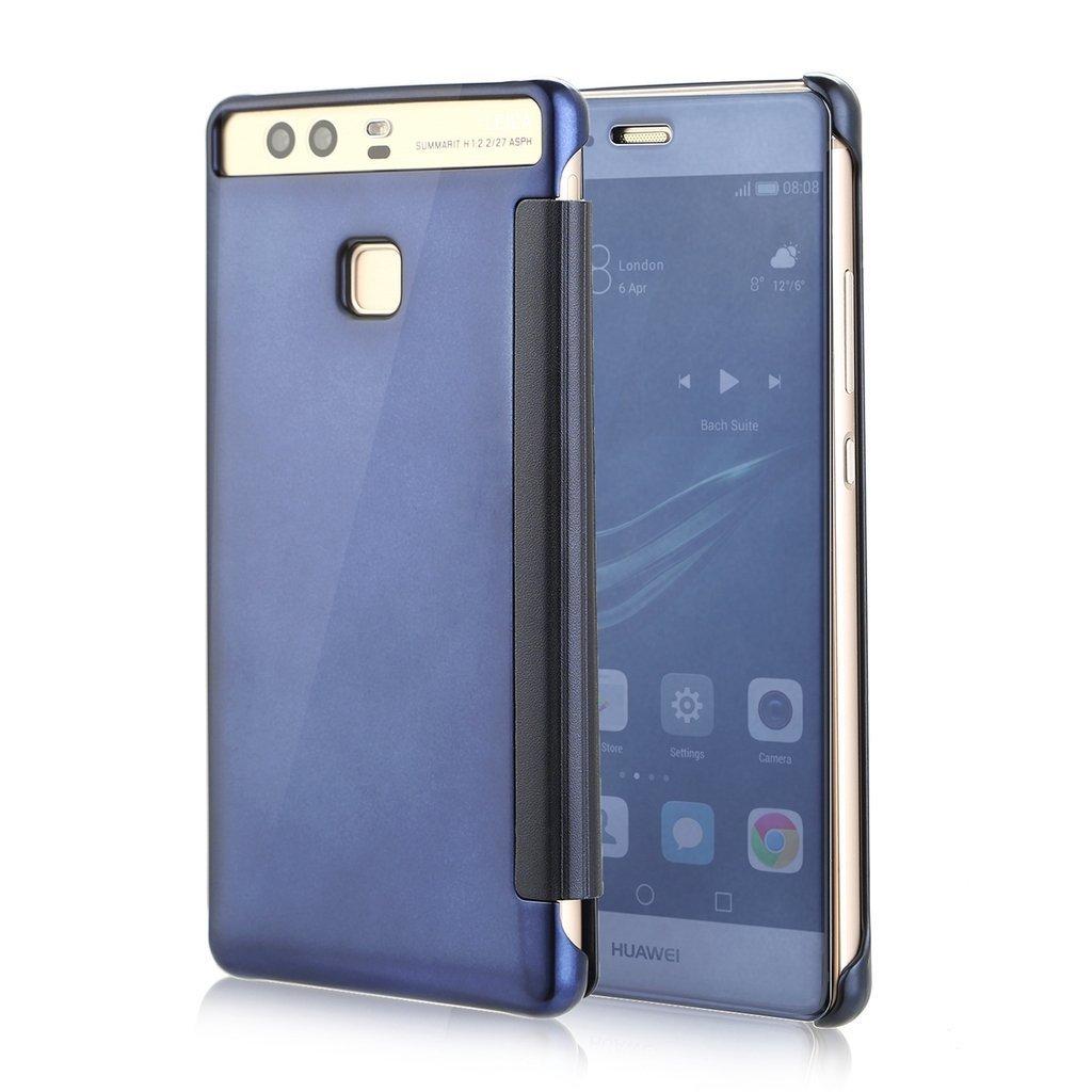 Qissy® Funda Huawei P9 Inteligente Fecha/Hora Ver Espejo Brillante tirón del Caso Duro con del sueño/Despierte Función (Azul): Amazon.es: Ropa y accesorios