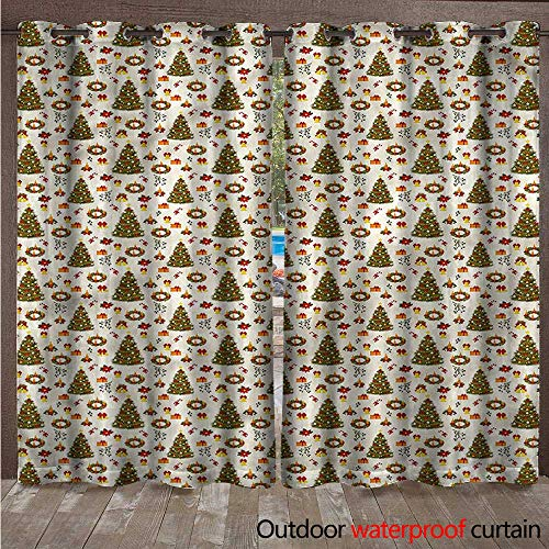 Outdoor Curtains for Patio Sheer Poinsettia Flowers W84 x L108(214cm x 274cm) ()