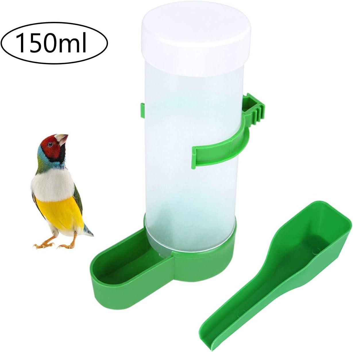QX-Pet Supplies Automatic Bird Feeder Bird Water Bottle Drinker Container Food Dispenser Hanging in Birds Cage for Parrots Budgie Cockatiel Lovebirds