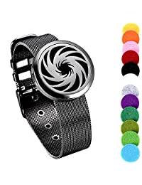 Black Plated Stainless Steel Essential Oil and Perfume Diffuser Locket Bracelet, Aromatherapy Bangle